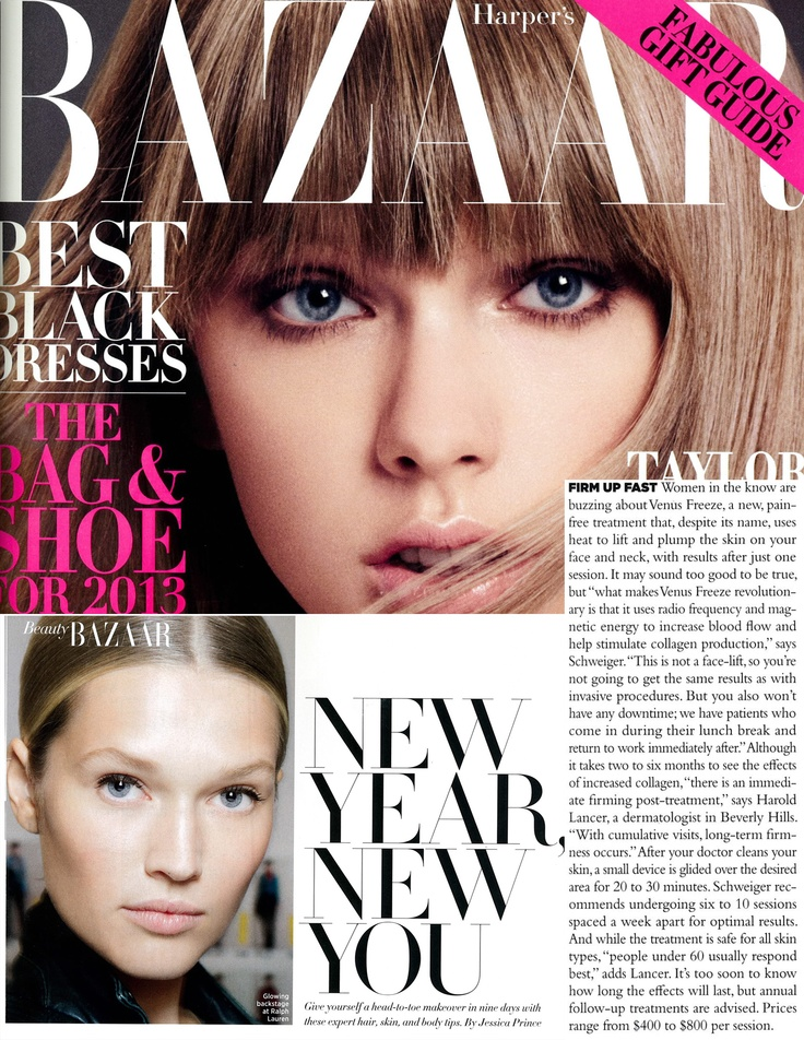 Venus Freeze featured in Harpers Bazaar US Dec 2012