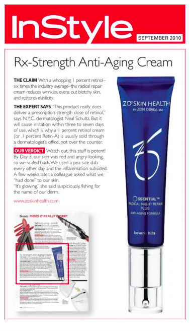 ZO Skin Health by Zen Obagi's night cream bursting with retinol featured in InStyle.
