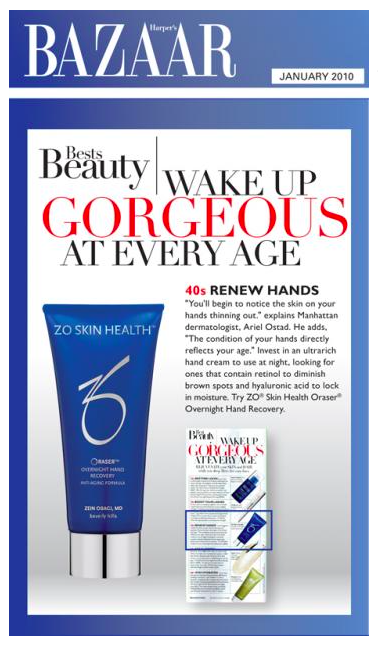 Zo Skin Health by Zen Obagi's hand recovery cream featured in Harper's Bazaar.